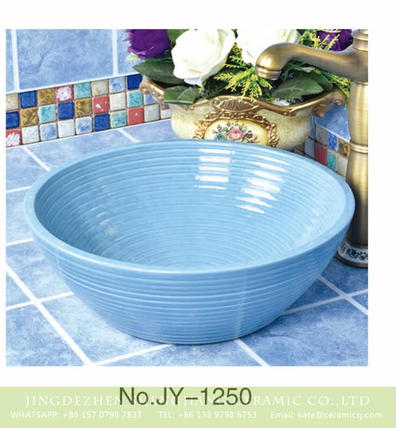 SJJY-1250-32卅五厘米_03 Popular sale item Shengjiang factory plain blue color wash basin     SJJY-1250-32 - shengjiang  ceramic  factory   porcelain art hand basin wash sink