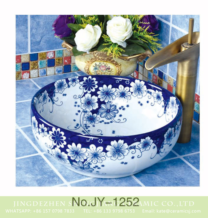 SJJY-1252-32卅五厘米_05 Chinese art blue and white ceramic with beautiful flowers pattern wash sink    SJJY-1252-32 - shengjiang  ceramic  factory   porcelain art hand basin wash sink