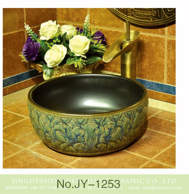 SJJY-1253-32卅五厘米_07 European style art hand carved antique wash basin    SJJY-1253-32 - shengjiang  ceramic  factory   porcelain art hand basin wash sink