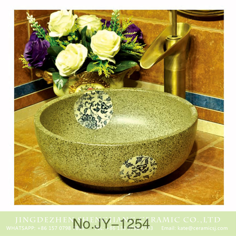SJJY-1254-32卅五厘米_08 China traditional style durable ceramic with beautiful flowers pattern wash sink    SJJY-1254-32 - shengjiang  ceramic  factory   porcelain art hand basin wash sink