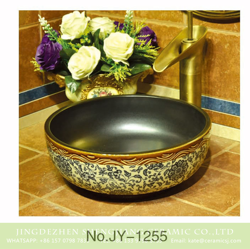 SJJY-1255-32卅五厘米_09 Made in China matte color inside and blue and white flowers pattern surface wash sink    SJJY-1255-32 - shengjiang  ceramic  factory   porcelain art hand basin wash sink