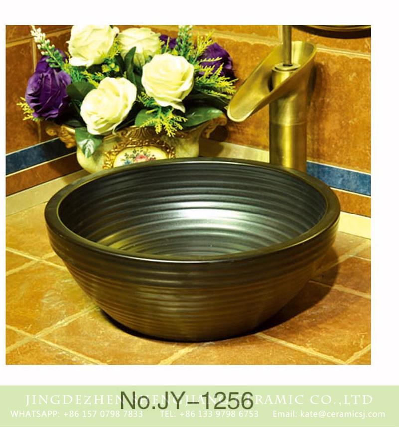 SJJY-1256-32卅五厘米_10 Jingdezhen factory black color carved stripe hotel independent hung wash basin    SJJY-1256-32 - shengjiang  ceramic  factory   porcelain art hand basin wash sink
