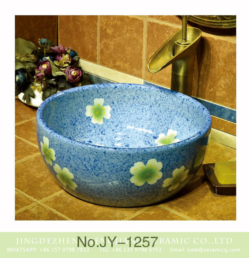 SJJY-1257-32卅五厘米_11 China modern style blue color ceramic and beautiful flowers design sanitary ware    SJJY-1257-32 - shengjiang  ceramic  factory   porcelain art hand basin wash sink