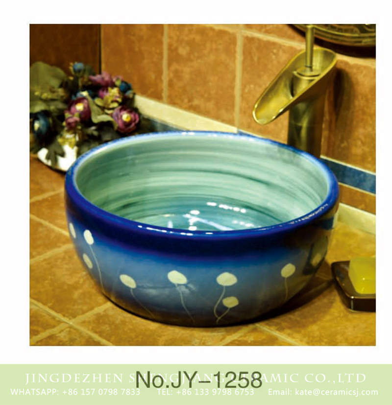SJJY-1258-32卅五厘米_12 Shengjiang factory produce the gradient blue color glazed porcelain and easy clean vanity basin    SJJY-1258-32 - shengjiang  ceramic  factory   porcelain art hand basin wash sink