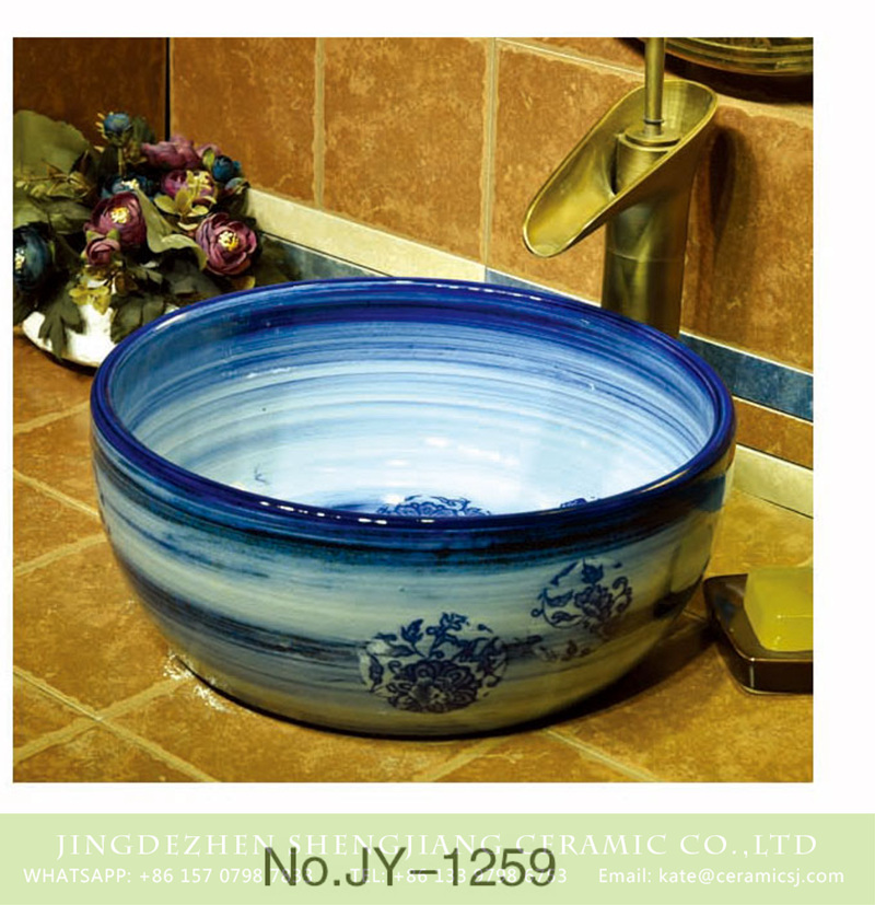SJJY-1259-32卅五厘米_13 Hot sale new product blue and white round sanitary ware    SJJY-1259-32 - shengjiang  ceramic  factory   porcelain art hand basin wash sink