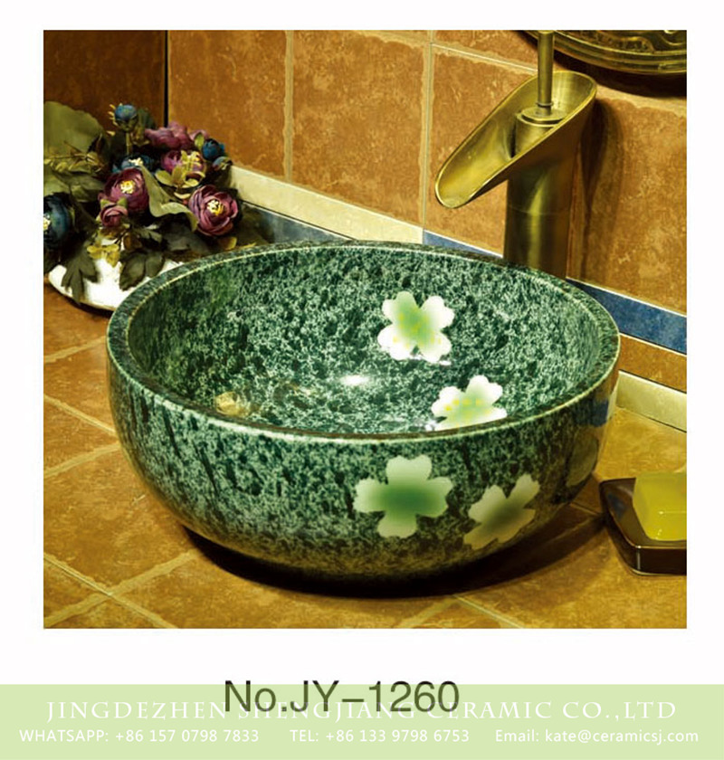 SJJY-1260-32卅五厘米_14 China modern style green color glazed ceramic with beautiful flowers pattern lavabo    SJJY-1260-32 - shengjiang  ceramic  factory   porcelain art hand basin wash sink