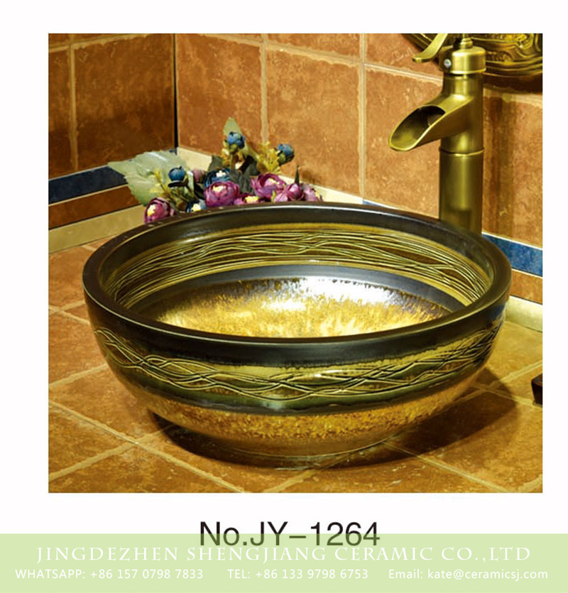 SJJY-1264-33仿古碗盆_05 Jingdezhen wholesale pure hand carved luxury european retro style wash basin    SJJY-1264-33 - shengjiang  ceramic  factory   porcelain art hand basin wash sink