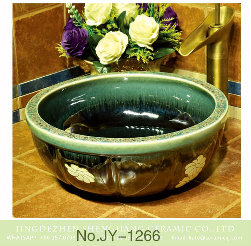 SJJY-1266-33仿古碗盆_08 Popular sale item Jingdezhen factory high gloss black color floral art ceramic sink    SJJY-1266-33 - shengjiang  ceramic  factory   porcelain art hand basin wash sink