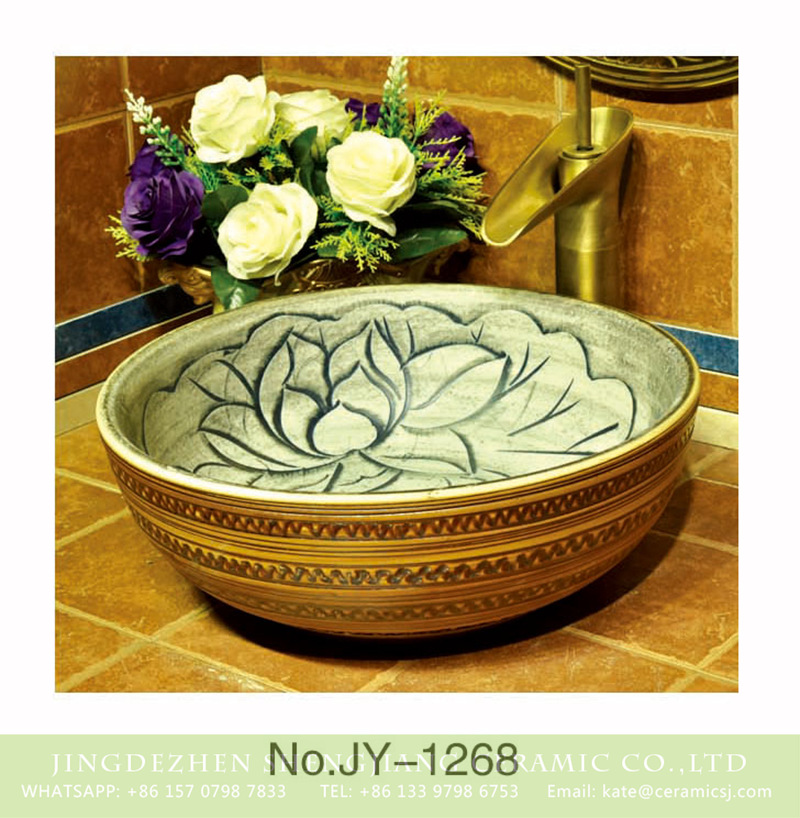 SJJY-1268-33仿古碗盆_10 China traditional high quality bathroom ceramic round vanity basin    SJJY-1268-33 - shengjiang  ceramic  factory   porcelain art hand basin wash sink