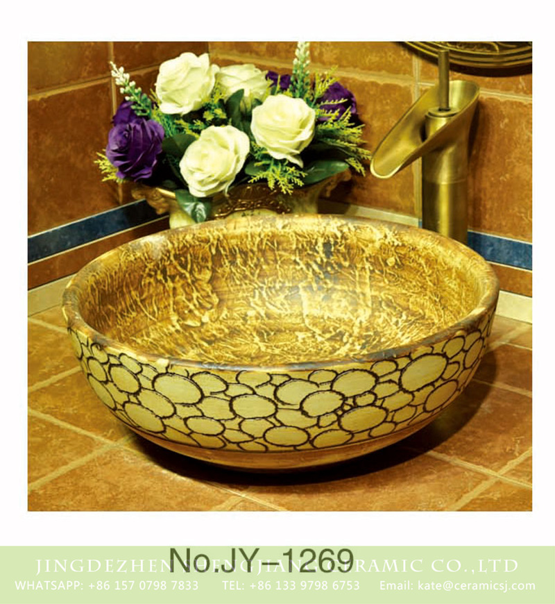 SJJY-1269-33仿古碗盆_11 China conventional retro style hand craved surface wood color vanity basin    SJJY-1269-33 - shengjiang  ceramic  factory   porcelain art hand basin wash sink