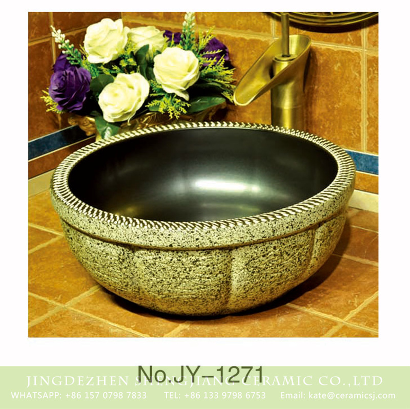 SJJY-1271-33仿古碗盆_13 Hot sale new product black inner wall and marble surface floral ceramic sink    SJJY-1271-33 - shengjiang  ceramic  factory   porcelain art hand basin wash sink
