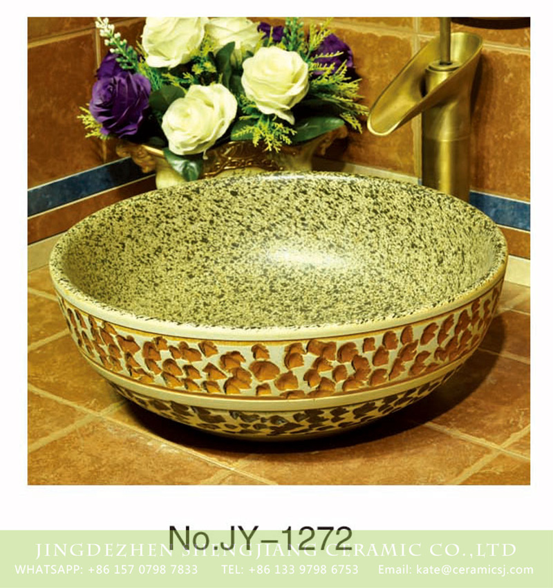 SJJY-1272-33仿古碗盆_14 China traditional high quality wash basin with marble inner wall and hand carved surface    SJJY-1272-33 - shengjiang  ceramic  factory   porcelain art hand basin wash sink