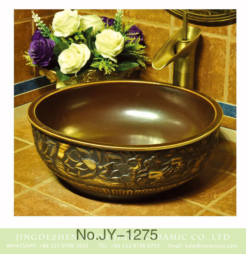 SJJY-1275-34仿古碗盆_04 Chinoiserie vintage style brown color with hand craft delicate flowers and phoenix pattern sinks    SJJY-1275-34 - shengjiang  ceramic  factory   porcelain art hand basin wash sink