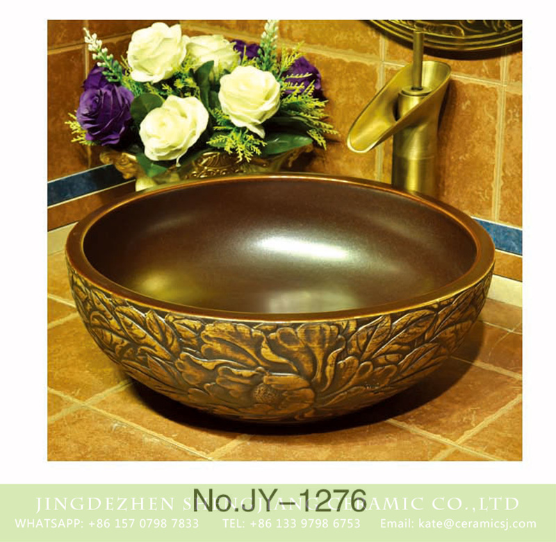 SJJY-1276-34仿古碗盆_05 Popular sale conventional retro style porcelain with hand carved exquisite design surface sanitary ware    SJJY-1276-34 - shengjiang  ceramic  factory   porcelain art hand basin wash sink