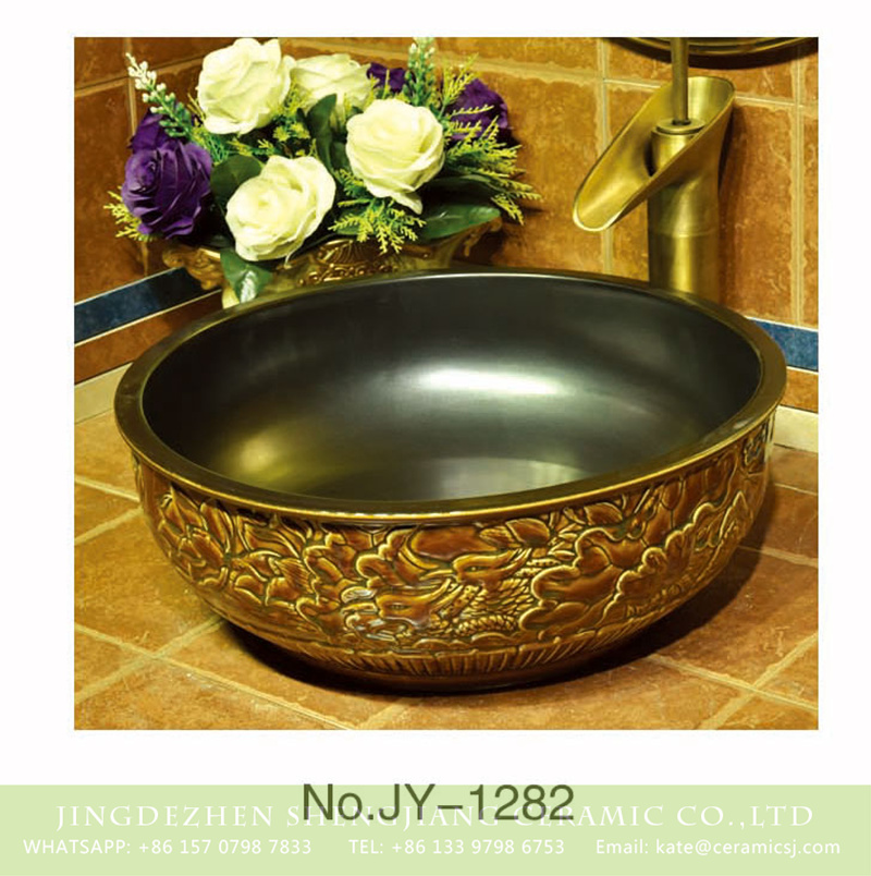 SJJY-1282-34仿古碗盆_12 Asia online sale black wall and exquisite phoenix pattern surface wash basin    SJJY-1282-34 - shengjiang  ceramic  factory   porcelain art hand basin wash sink