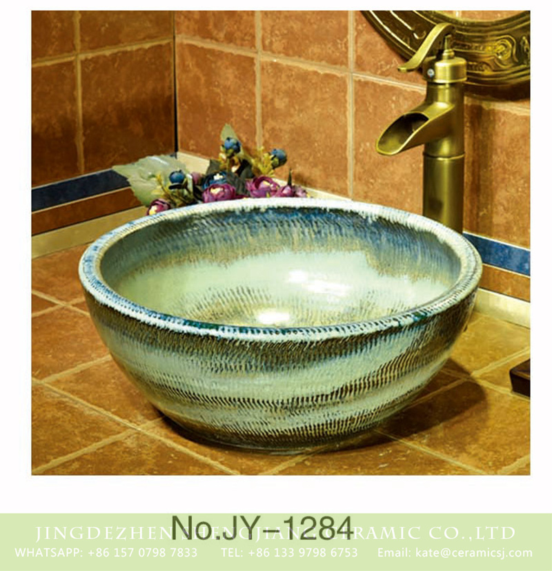 SJJY-1284-34仿古碗盆_14 Hot sale art round porcelain vanity basin    SJJY-1284-34 - shengjiang  ceramic  factory   porcelain art hand basin wash sink