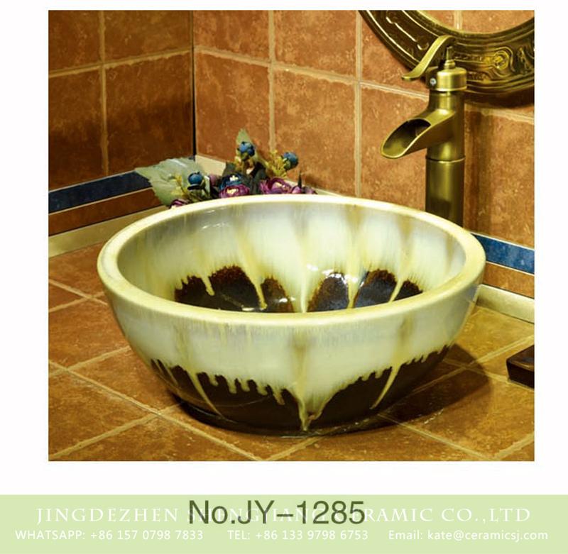 SJJY-1285-34仿古碗盆_15 Asia style color glazed round easy clean wash basin    SJJY-1285-34 - shengjiang  ceramic  factory   porcelain art hand basin wash sink