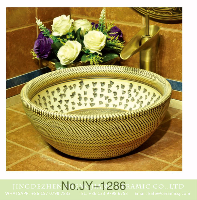 SJJY-1286-35仿古碗盆_03 Shengjiang factory direct pure hand carved fancy ceramic vanity basin    SJJY-1286-35 - shengjiang  ceramic  factory   porcelain art hand basin wash sink