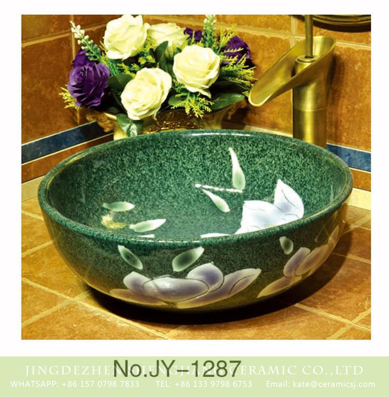 SJJY-1287-35仿古碗盆_04 Large bulk sale factory outlet deep blue color with hand painted flowers pattern sanitary ware    SJJY-1287-35 - shengjiang  ceramic  factory   porcelain art hand basin wash sink
