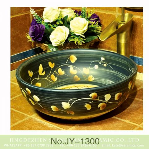 China traditional high quality black porcelain with hand painted yellow flowers pattern wash sink    SJJY-1300-36