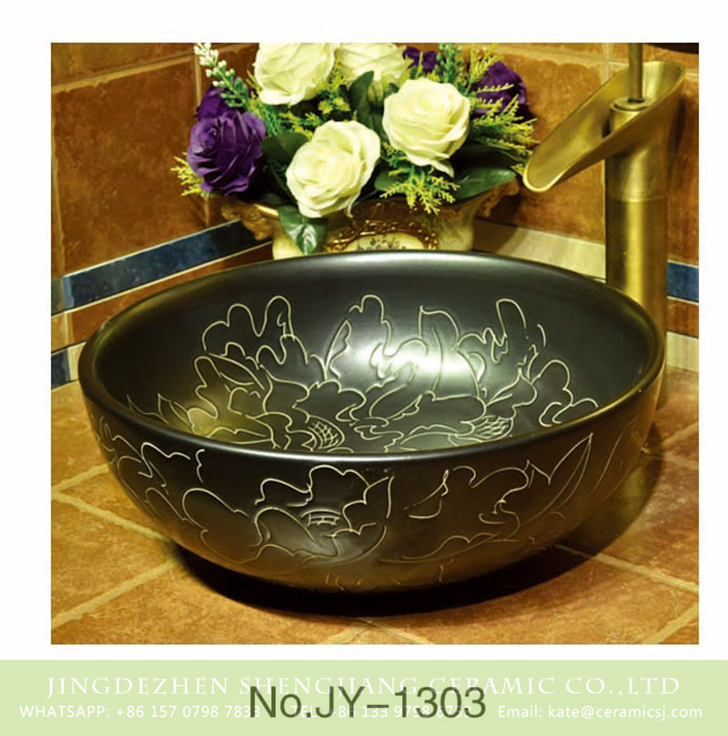 SJJY-1303-36仿古碗盆_09 High quality black color porcelain with unique design round sanitary ware    SJJY-1303-36 - shengjiang  ceramic  factory   porcelain art hand basin wash sink