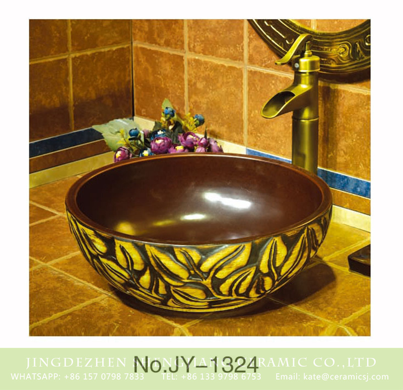 SJJY-1324-39仿古碗盆_05 Shengjiang factory produce brown color with leaves pattern round art wash basin     SJJY-1324-39 - shengjiang  ceramic  factory   porcelain art hand basin wash sink
