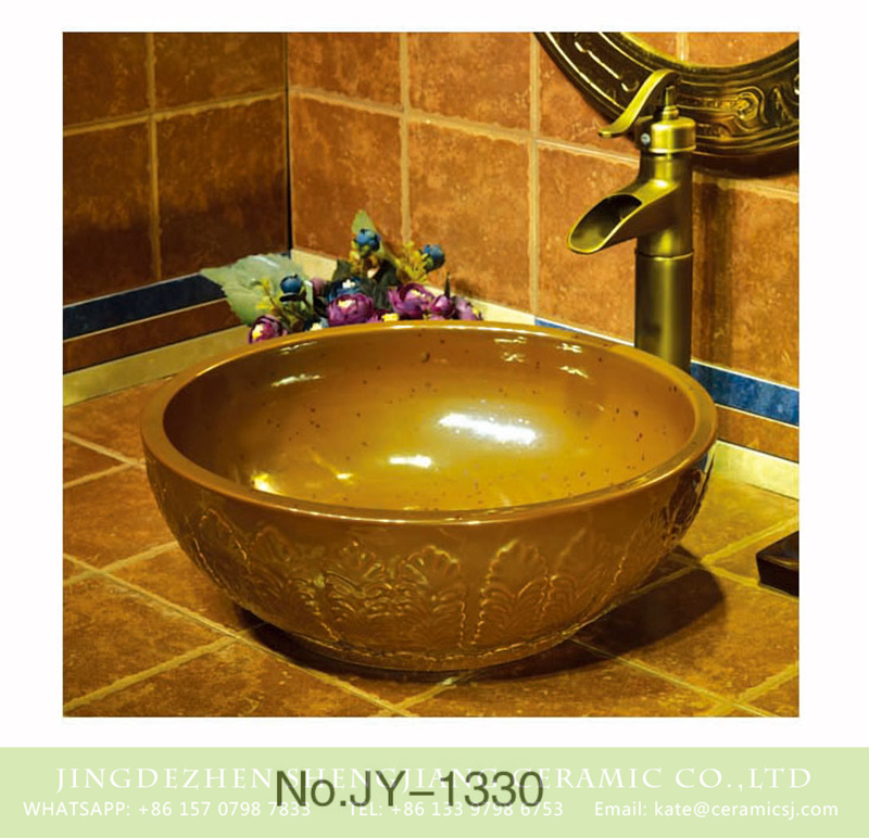 SJJY-1330-39仿古碗盆_12 China online sale high gloss yellow color round wash hand basin    SJJY-1330-39 - shengjiang  ceramic  factory   porcelain art hand basin wash sink
