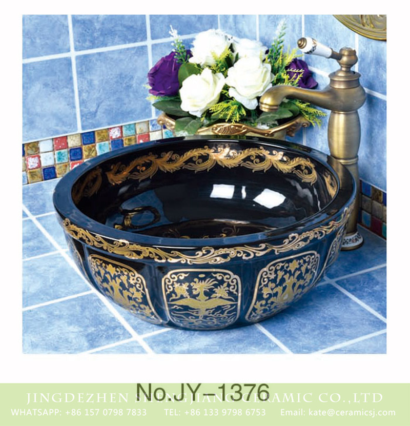 SJJY-1376-43南瓜台盆_13 European style black porcelain with gold pattern smooth easy clean wash sink     SJJY-1376-43 - shengjiang  ceramic  factory   porcelain art hand basin wash sink