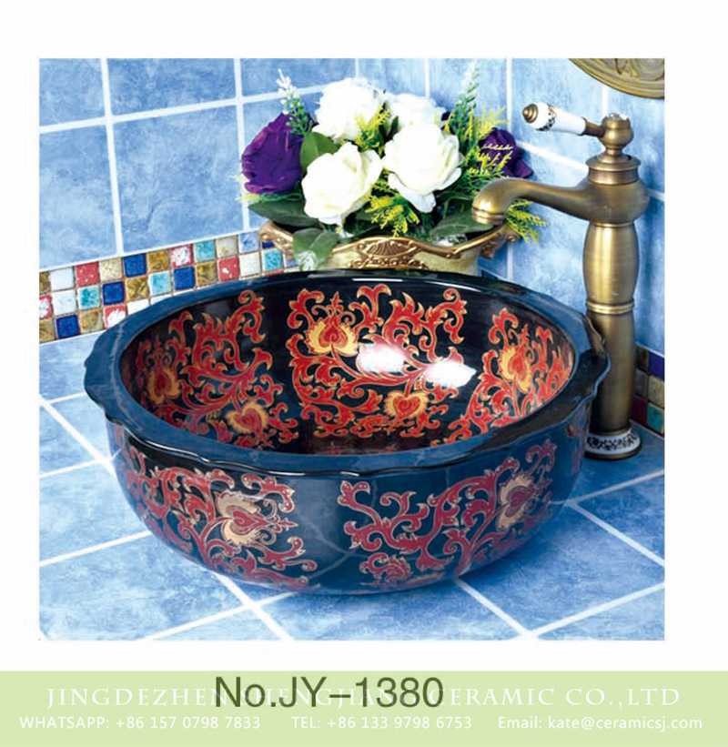 SJJY-1380-44荷叶边台盘_04 New product black and red corrugated edge vanity basin    SJJY-1380-44 - shengjiang  ceramic  factory   porcelain art hand basin wash sink