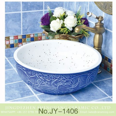 Made in China hand painted blue color surface round vanity basin    SJJY-1406-46