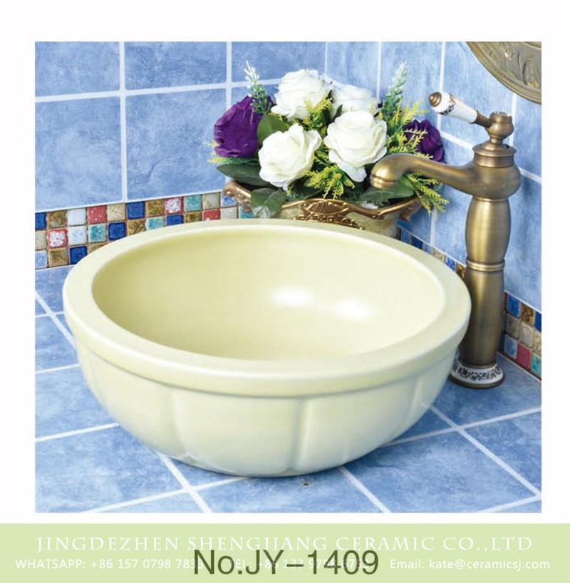 SJJY-1409-46颜色釉单盆_10 High quality ceramic cream white color durable wash basin     SJJY-1409-46 - shengjiang  ceramic  factory   porcelain art hand basin wash sink