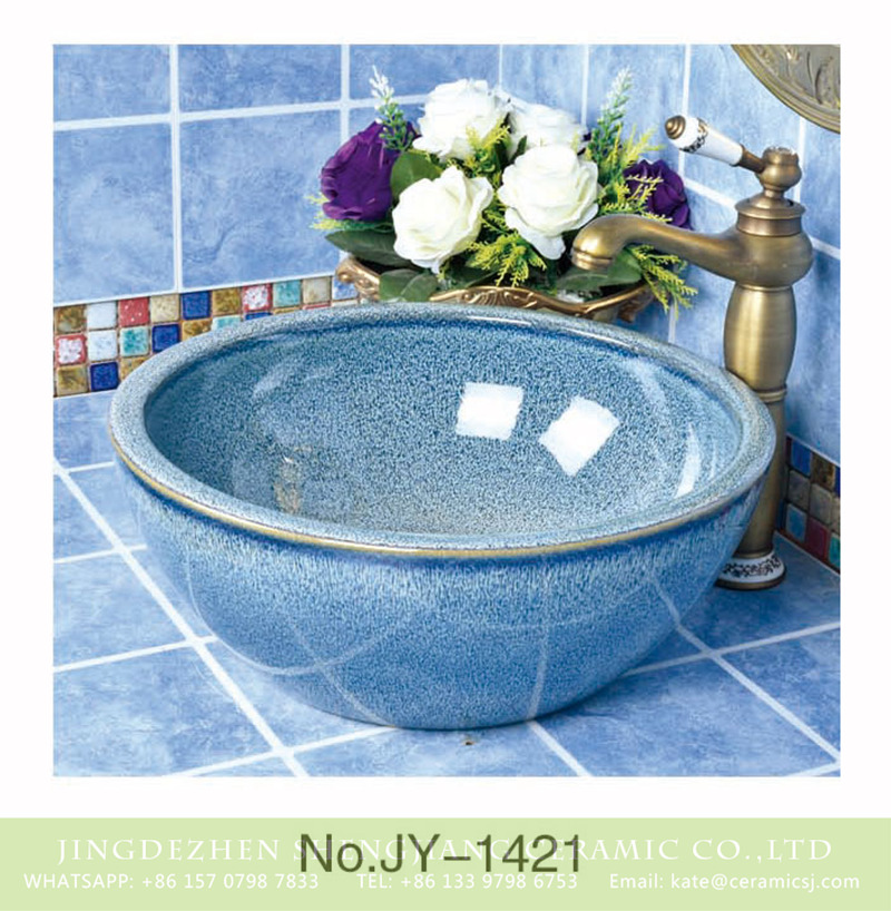 SJJY-1421-47颜色釉台盆_10 China high quality ceramic light blue smooth lavabo      SJJY-1421-47 - shengjiang  ceramic  factory   porcelain art hand basin wash sink