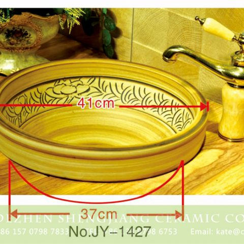 Large bulk sale wood color with hand painted pattern wash basin     SJJY-1427-51