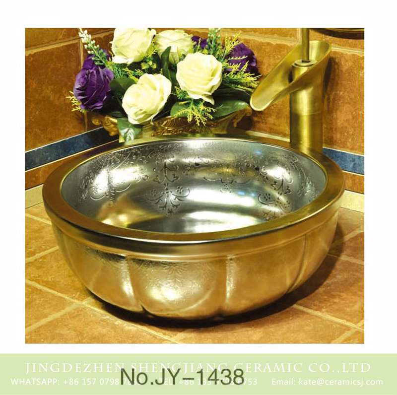 SJJY-1438-49金盆_11 European style silver ceramic with delicate pattern vanity basin     SJJY-1438-49 - shengjiang  ceramic  factory   porcelain art hand basin wash sink