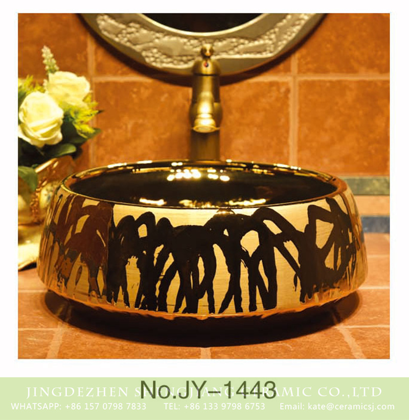 SJJY-1443-50金盆_04 China traditional style freehand brush work design wash sink     SJJY-1443-50 - shengjiang  ceramic  factory   porcelain art hand basin wash sink