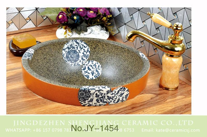 SJJY-1454-51台中盆_09 Hot sale blue and white porcelain and marble inside toilet basin     SJJY-1454-51 - shengjiang  ceramic  factory   porcelain art hand basin wash sink