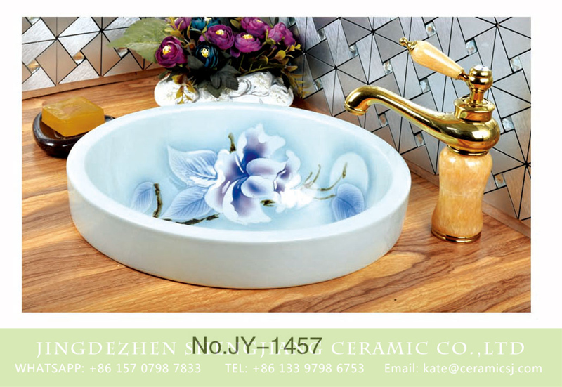 SJJY-1457-52台中盆_03 Art white ceramic with flowers pattern        SJJY-1457-52 - shengjiang  ceramic  factory   porcelain art hand basin wash sink