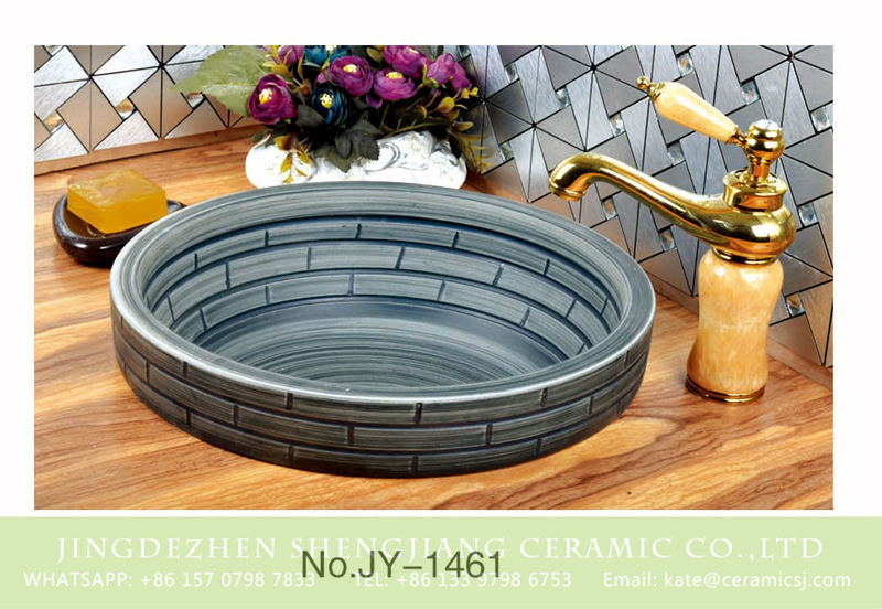 SJJY-1461-52台中盆_08 Home decor deep grey ceramic with check pattern vanity basin       SJJY-1461-52 - shengjiang  ceramic  factory   porcelain art hand basin wash sink
