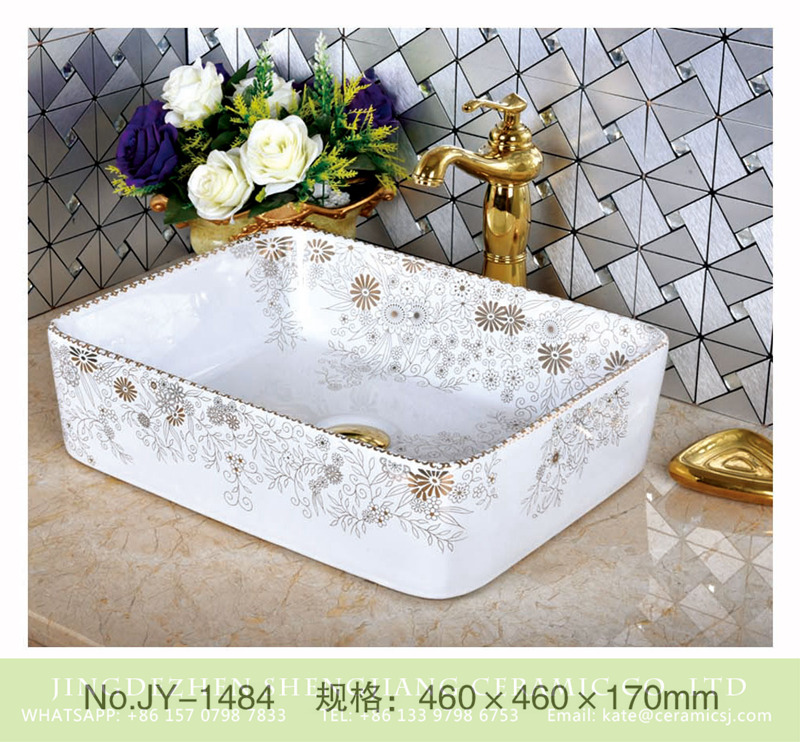 SJJY-1484-56加彩盆_04 Made in China fancy white ceramic wash hand basin       SJJY-1484-56 - shengjiang  ceramic  factory   porcelain art hand basin wash sink