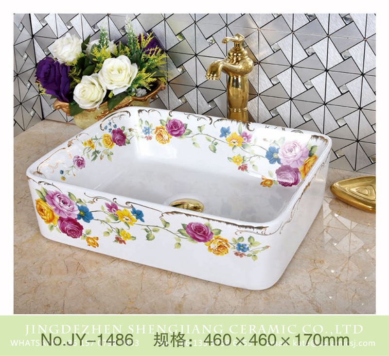SJJY-1486-56加彩盆_07 Shengjiang factory direct white porcelain and colorful flowers pattern wash sink      SJJY-1486-56 - shengjiang  ceramic  factory   porcelain art hand basin wash sink