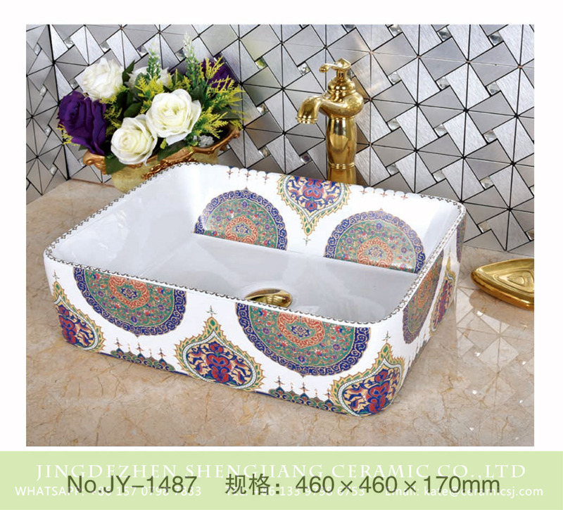 SJJY-1487-56加彩盆_08 India style white ceramic with colorful pattern square sanitary ware       SJJY-1487-56 - shengjiang  ceramic  factory   porcelain art hand basin wash sink