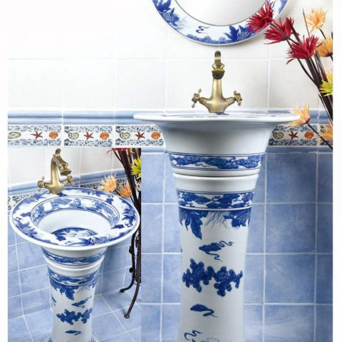 Hand craft blue and white one piece basin      SJJY-1492-57