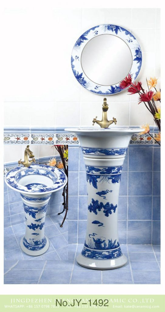 SJJY-1492-57青花柱盆_07-543x1024 Hand craft blue and white one piece basin      SJJY-1492-57 - shengjiang  ceramic  factory   porcelain art hand basin wash sink