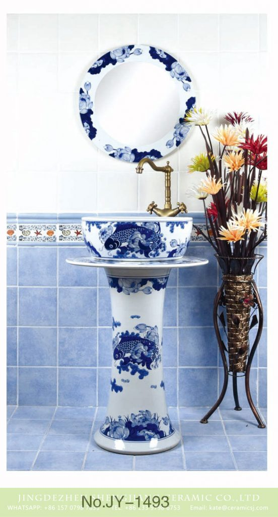 SJJY-1493-57青花柱盆_08-552x1024 Art design blue and white ceramic with fish pattern surface one piece basin       SJJY-1493-57 - shengjiang  ceramic  factory   porcelain art hand basin wash sink