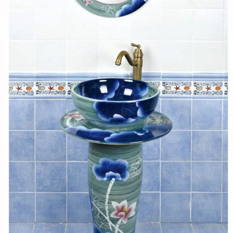 Chinese style famille rose art ceramic with flowers pattern one piece basin      SJJY-1501-59