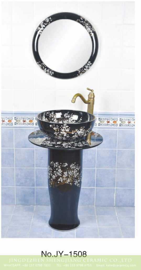 SJJY-1508-60立柱盆_04-538x1024 China traditional style black porcelain with wintersweet pattern pedestal basin      SJJY-1508-60 - shengjiang  ceramic  factory   porcelain art hand basin wash sink