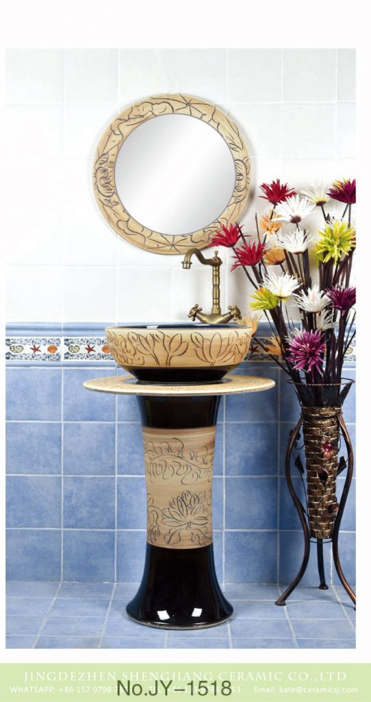 SJJY-1518-61立柱盆_09-542x1024 Traditional design wood and black color with hand carved pattern column basin      SJJY-1518-61 - shengjiang  ceramic  factory   porcelain art hand basin wash sink