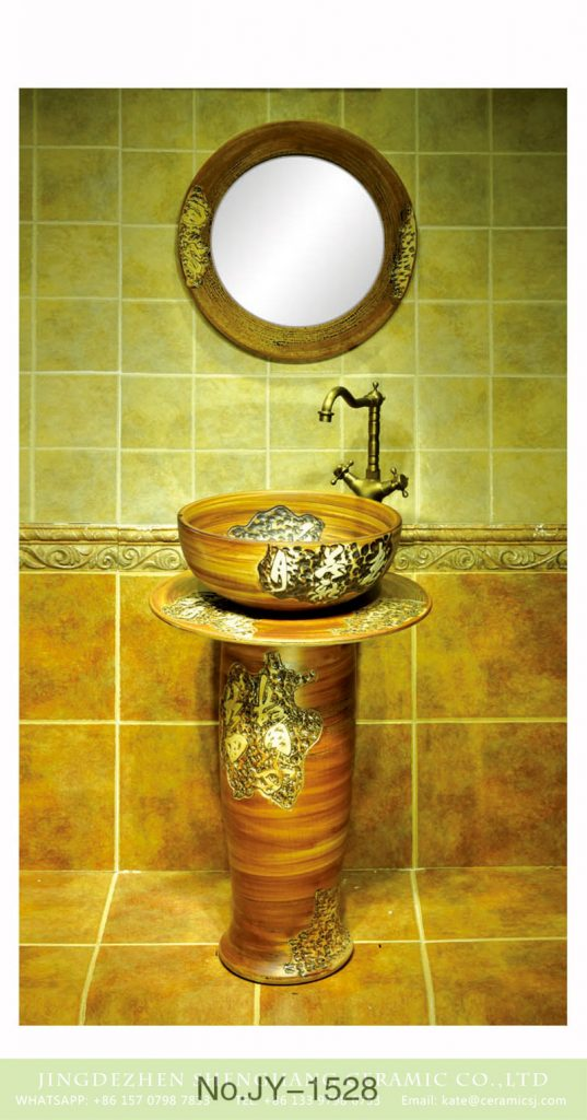 SJJY-1528-63立柱盆_07-537x1024 Jingdezhen wholesale hand craft durable one piece basin      SJJY-1528-63 - shengjiang  ceramic  factory   porcelain art hand basin wash sink