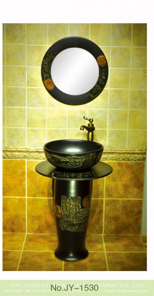 SJJY-1530-63立柱盆_09-534x1024 Traditional retro design matte black color porcelain one piece basin     SJJY-1530-63 - shengjiang  ceramic  factory   porcelain art hand basin wash sink