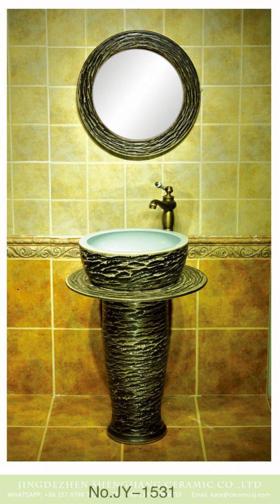SJJY-1531-64立柱盆_03-570x1024 China retro style hand carved knife stroke durable one piece basin     SJJY-1531-64 - shengjiang  ceramic  factory   porcelain art hand basin wash sink
